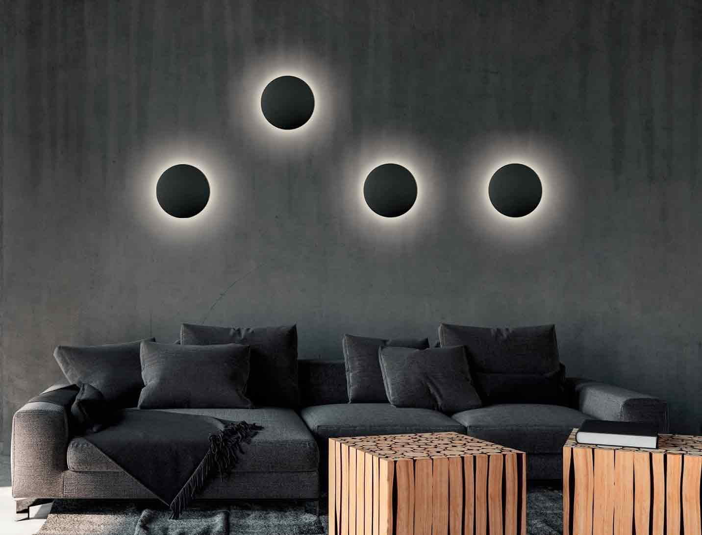Aplique de pared interior negro