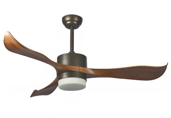 Ventilador con luz madera
