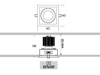Ringo Box 2.1 Onok empotrable de techo medidas
