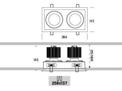 Ringo Box 2.2 Onok empotrable de techo medidas